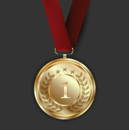 Golden Award Medal on Dark Background Vector