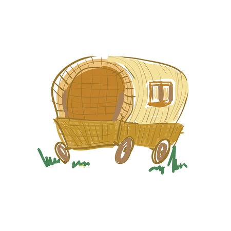 wagon wheel:  Illustration of gypsy wagon sketch