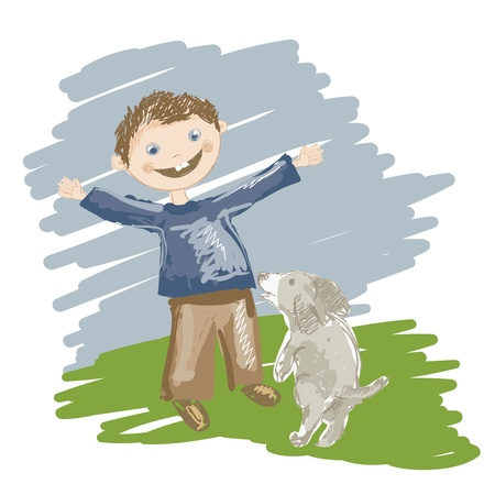 Illustration of cartoon boy playing with dog Stock Vector - 16166414