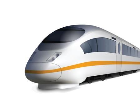 high speed railway: High Speed Train Isolated on white Illustration