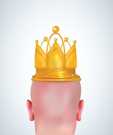Illustration of realistic bald head with golden crown  Vector