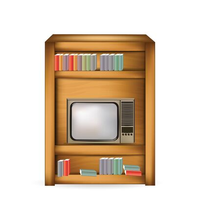 bedside with tv and book Vector