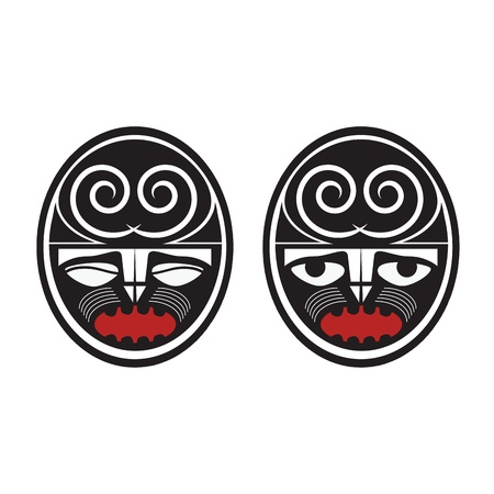 Collection of two different maori style faces  Vector