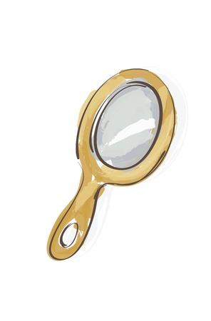 hand mirror:  Illustration of Wooden Hand Mirror sketch