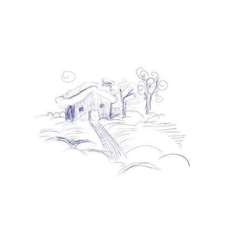 Winter Landscape Hand Drawn Stock Vector - 16166289