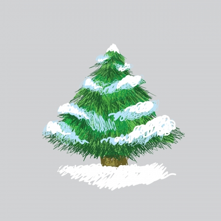 Illustration of hand drawn pine tree with snow, original sketch Stock Vector - 16166406