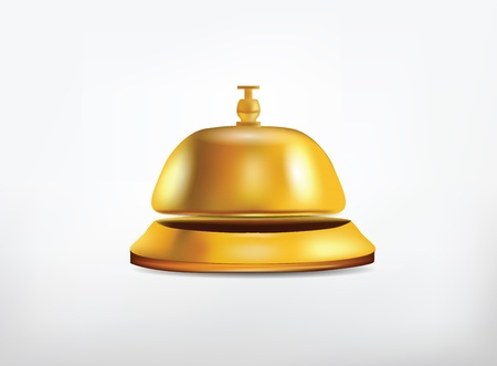 concierge: Reception Golden Bell Isolated on White