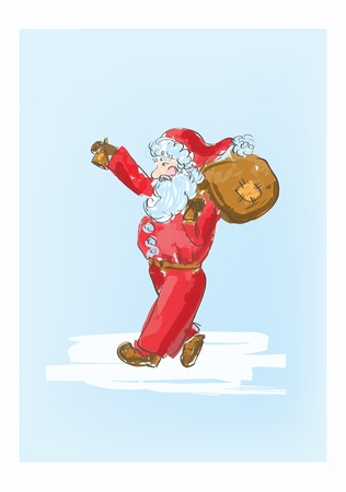 Illustration of cartoon Santa Claus sketch  Vector