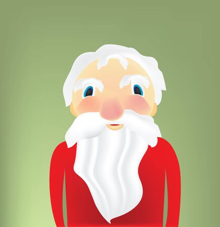 Illustration of cartoon Santa Claus portrait, without red hat  Vector