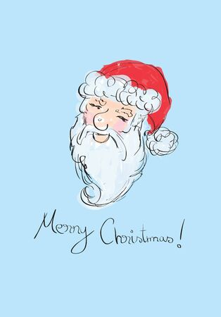 Illustration of Santa Claus sketched portrait  Vector