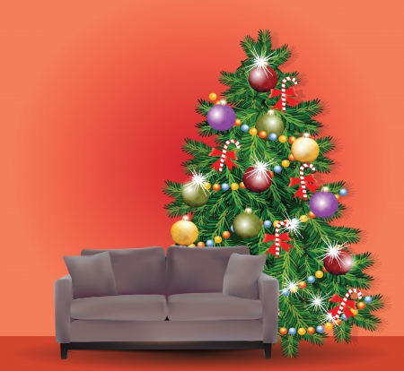 Christmas Tree with Sofa Vector