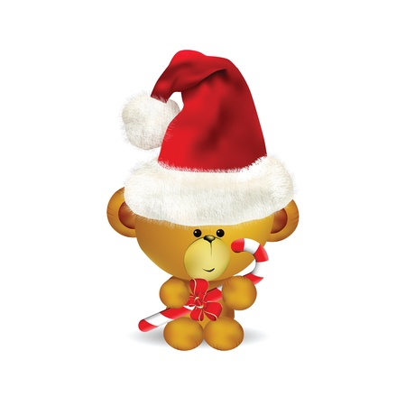 Illustration of cute Christmas Teddy Bear with candy cane  Vector