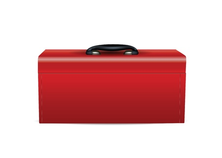 mechanic tools: Red Toolbox isolated on white
