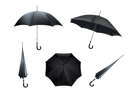Complete set of black umbrellas, isolated on white background Stock Vector - 16166346