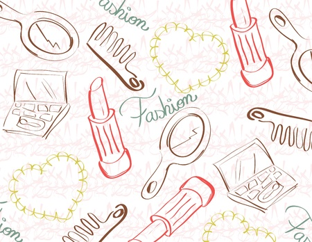 hand mirror:  Vintage background with make up objects  Illustration