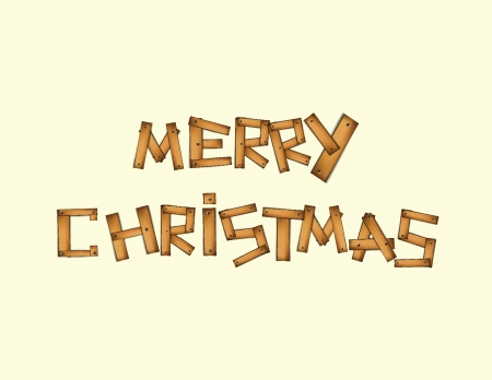 Illustration of Wooden Merry Christmas text  Vector