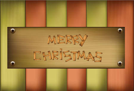 Illustration of Wooden plaque with Merry Christmas text  Vector