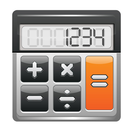 subtract: Classic Calculator Icon Isolated on White Illustration