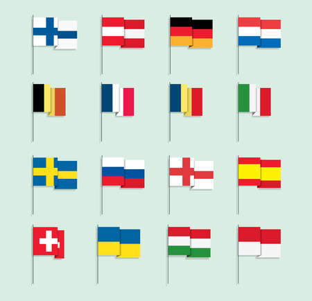 Set of Flat Style European Flags