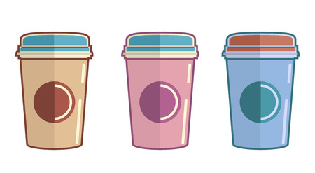 Disposable coffee cup icons flat style Illustration