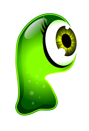 gelatin: Green Jelly Monster Character Isolated on White