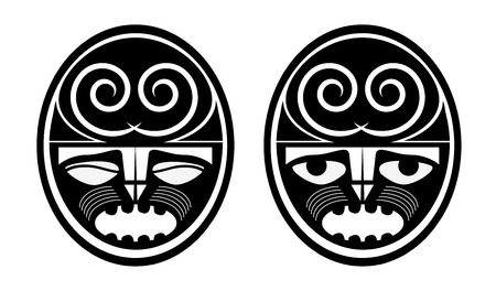 Blank Maory - Polinesian Masks Tattoo Sketch Isolated on White