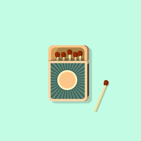 box of matches: Matchbox Icon On Blue Background