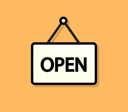 doorhandle: Open Door Flat Sign Illustration