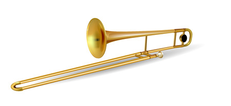 trombon: Trombone del instrumento musical aislado en blanco