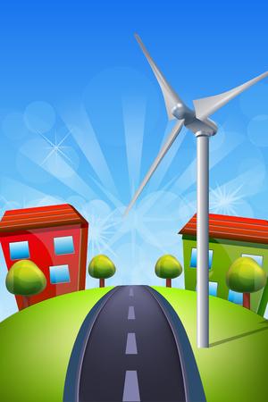 turbines: Wind Turbines on Green Field Illustration