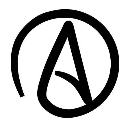 disbelief: Atheism Black and White Printable Symbol