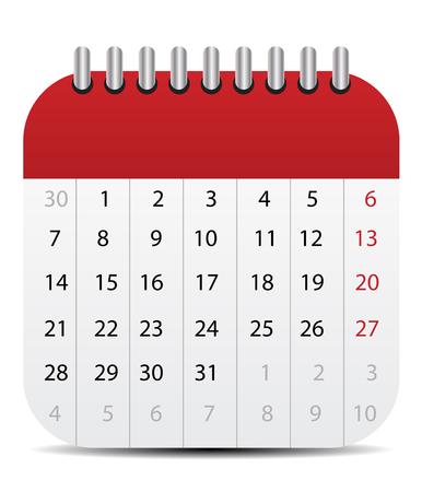 Calendar Icon Isolated on White Çizim
