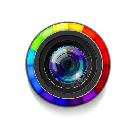 Camera Lens with Color Wheel Vectores