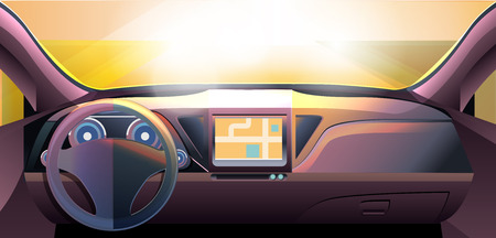 steering wheel: Dashboard - car interior, made with bright color gradients Illustration