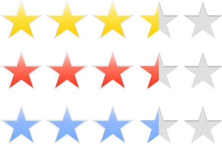 five stars: Star Rating Set Isolated on White