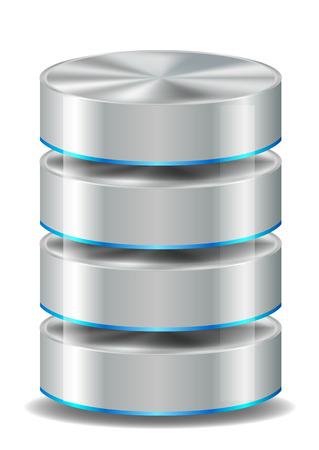 데이터베이스 아이콘 화이트에 고립 일러스트