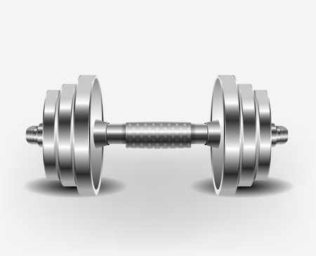 Dumbell over white background