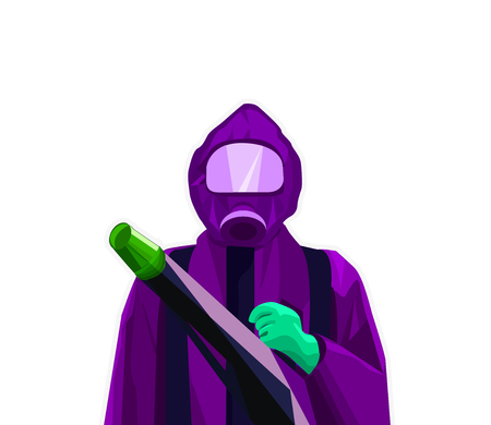 exterminator: Pest Control Exterminator Man in Purple Suit and Green Gloves