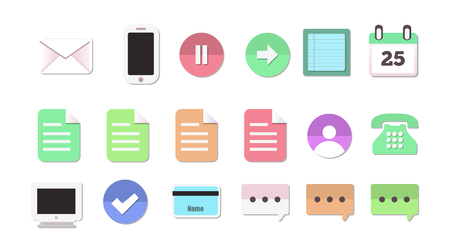 user friendly: Set Of 18 Flat Style Communication and Media Icons Isolated on White
