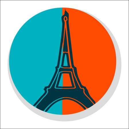 french culture: Flat Eiffel Tower Icon - Sticker Isolated on White Illustration