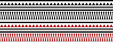 赤と黒のマオリ - 白地ポリネシア Bracelete タトゥー パターン