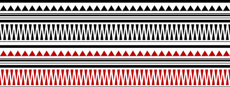 maori: Red and Black Maori - Polynesian Bracelete Tatto Pattern on White Background