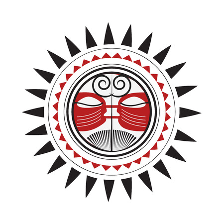 Maori Sun God - Polynesian Traditional Pattern Drawing Red and Black Sketch Isolated on White