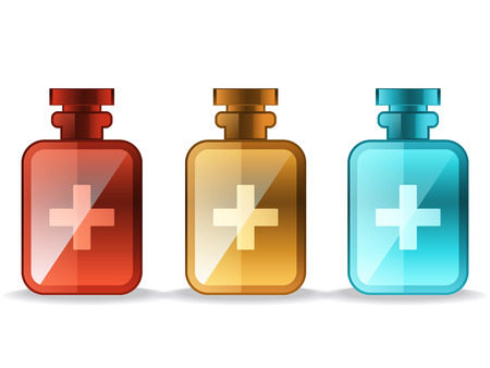 first aid box: medical bottles. colorful set on white background Illustration