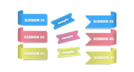 Ribbons and Etiquettes Isolated on White Vector