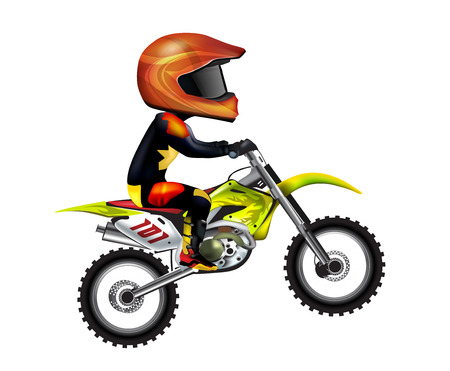 siluet: Motorcycle Rider Isolated on White