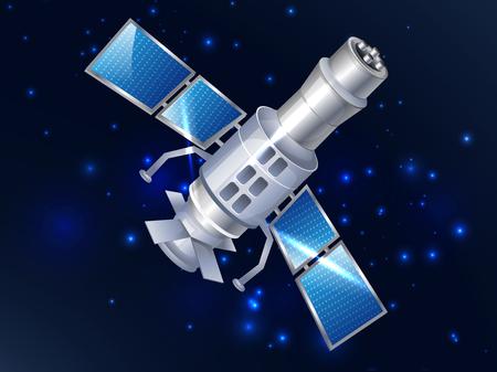 Satélite en el espacio. Vector