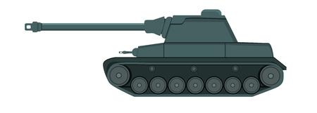 ww2: Flat Green Tank on White Illustration