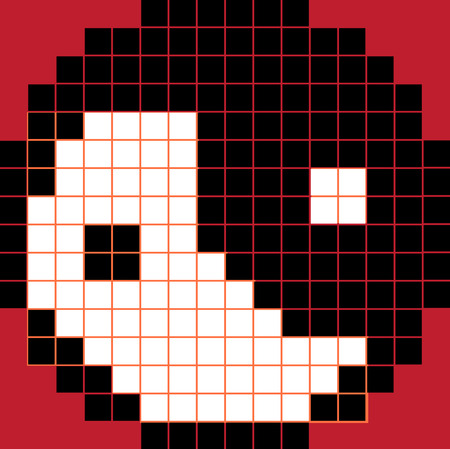 daoism: Pixel Yng Yang Black and White on Red Background Illustration