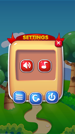 Settings Mobile Game User Interface GUI Assets Vector Eps 10 Çizim